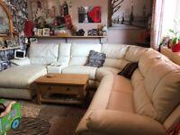 Cream leather sofa corner suite