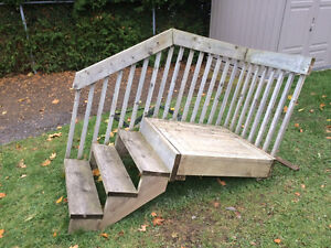Backyard Home Deck Wood Stairs With Metal Risers / Supports