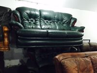 Free delivery 🎅 green leather 3 and 2 sofas