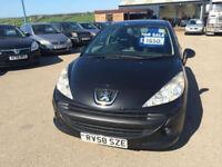 2008 58 Peugeot 207 1.4 VTi 95 S Petrol Black 5 Door MOT OCT 2018.