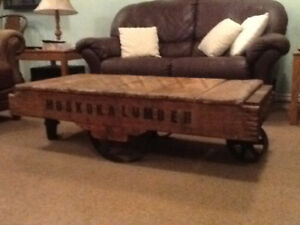 ANTIQUE LUMBER CART COFFEE TABLE
