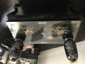 Chinese inlay glass covered coffee table