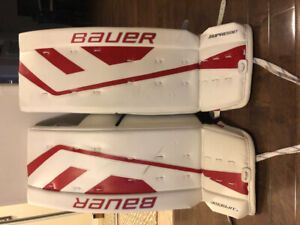 """Bauer Supreme ONE.7 Goalie Pads Senior 34+1"""" White with red trim"""