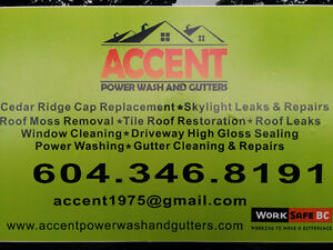 Accent Power Wash & Gutters....Windows... Roof De Moss....WCB! North Shore Greater Vancouver Area image 1