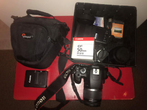 Canon Rebel XS, additional 50mm lense, mecablitz flash and more