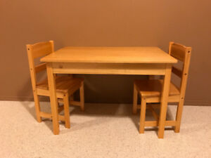KidKraft solid wood table and 2 chairs