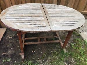 Teak patio set 6 chairs