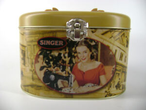 Singer Sewing Machine Vintage looking Tin Box