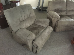 Grey reclining sofa and love seat