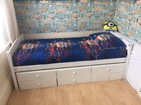 Kids Single Bed white colour with troundle, drawers