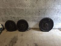 Cast iron weights £140kg total and 6ft spin lock bar