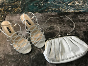 Silver shoes with matching purse