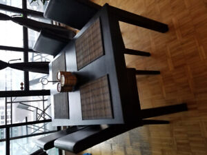 $120 - Dining room table with 4 leather chairs