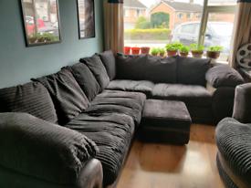 Corner Sofa, Storage Poof & Swivel Chair