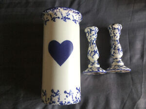 Country vase and candle stick holders