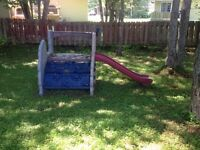Rock Wall and Slide Playset