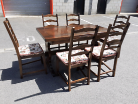 Extendable ERCOL Dining Table and 6 Chairs