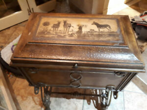 Wooden chest with iron