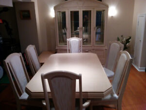 Birch dining room table and 6 chairs and hutch