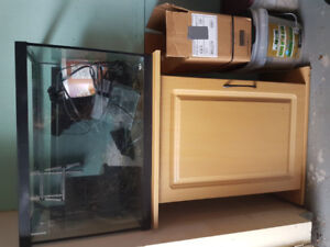 25 (?) GALLON FISH TANK WITH STAND AND ACCESSORIES