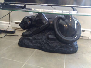 Coffee Table - Panther Base, Glass Top - Stylish modern panther