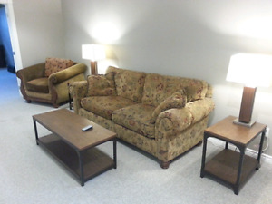 Couch, love seat, chair, coffee table, 2 end tables, tv stand.
