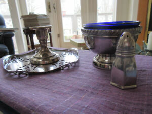Assortment of vintage silver plate - bowl candle holder.....