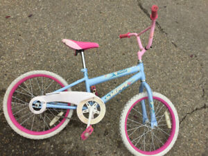 Tiny girls bike, pink and white sparkle heart, $20