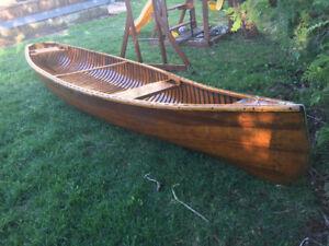 Cedar strip Flat back canoe