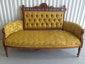 Gold Upholstered Antique Settee/ Love-Seat
