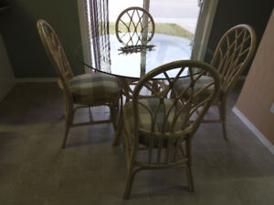 Dining  Table Rattan & Glass & 4 Chairs