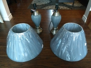 Two grey lamps