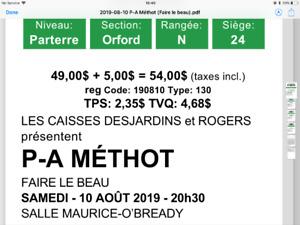 Billets de spectacle pour P-A Méthot (5) - samedi 10 août 2019