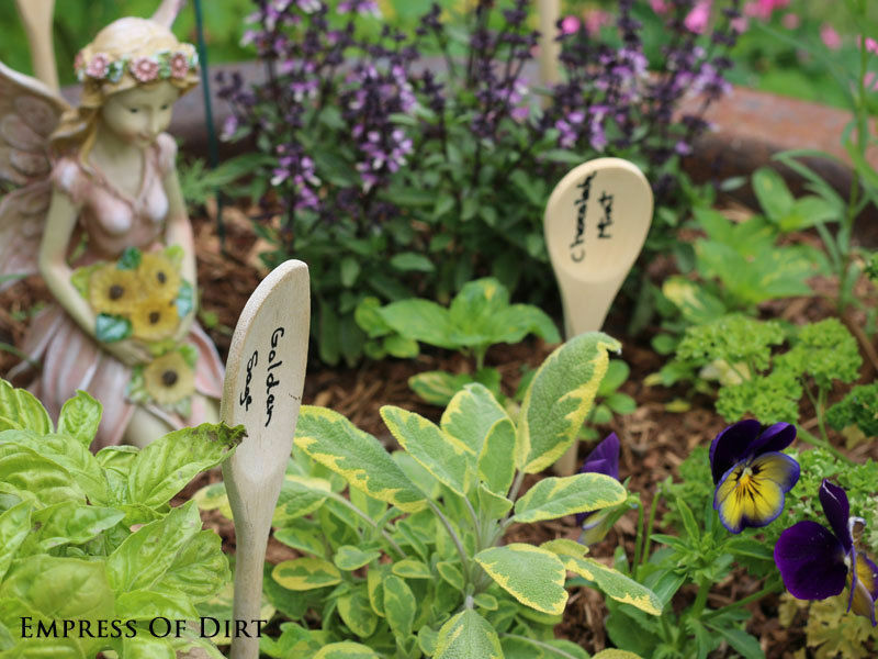 Wooden spoon plant markers