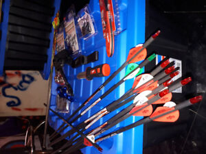 10 brand new hunting arrows for compound bow plus 3 used ones