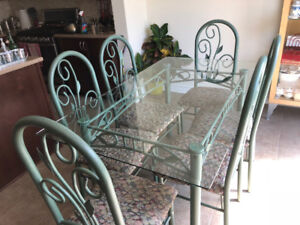 Glass Table and 6 Matching Chairs