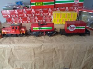 LGB TRAIN, LOCO, TANK CAR, CONTAINER CAR G SCALE