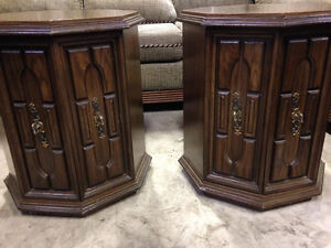 End tables with opening doors