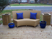 LARGE OUTDOOR RESIN WICKER CURVED SOFA *** CAN DELIVER