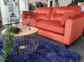 NEW Ruby Rust Velvet 3 Seater Sofa DELIVERY AVAILABLE