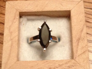 Beautiful Marquise Cut Black Diamond & Solid Silver Ring London Ontario image 1