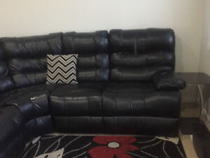 Black Reclining Leather Sofa