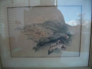 """antique hand colored lithograph by David Roberts""""BETHANY"""" (1800)"""