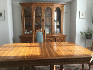 Full dining room suite, solid oak.