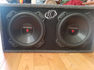 """2 10"""" Kenwood 300w subs in box."""