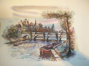 Original Watercolour of Paris & Seine River