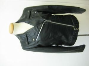 Classic black leather motorcycle jacket for women size M