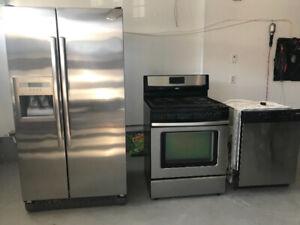 3 pcs whirlpool stainless steel kitchen appliances set
