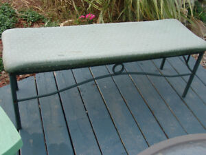 Upholstered bench metal solid good condition