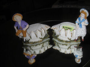 PR. ADORABLE VERY OLD QUAINT BISQUE FLOWER HOLDERS